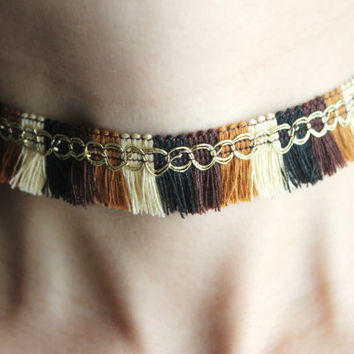 Brown fringe choker necklace, brown tassel choker necklace, brown fringe choker necklace, fringe choker necklace, boho choker necklace