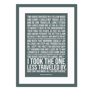 The Road Not Taken by Robert Frost - Art Print - Quotation & Poetry Typography Poster - Inspirational Motivational - Literature Quote Art