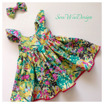 Girls dress modern baby clothes Dress with Bow Baby dress Amy Butler Designer fabric pink dress yellow dress special occasion dress