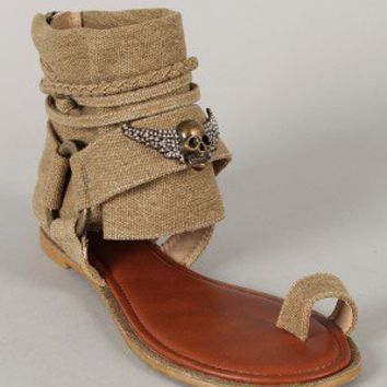 Bamboo Huntington-12 Canvas Skull Ankle Cuff Toe Ring Flat Sandal