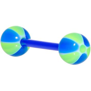 Bioplast Blue Green Beach Ball Barbell Tongue Ring