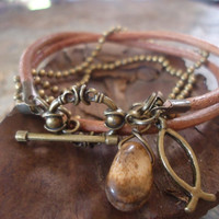 CAMEL LEATHER and JASPER and  ball chain bracelet by AsaiBolivien 10,90 $