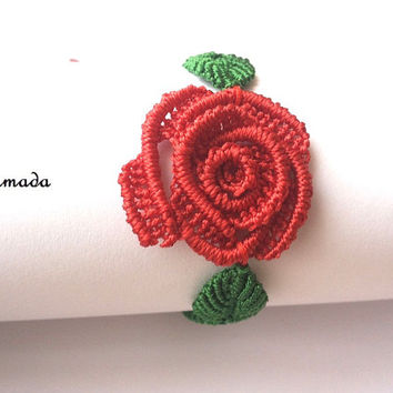Red rose bracelet / free shipping