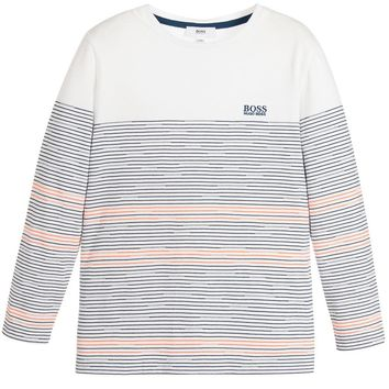 Hugo Boss Boys White with Colorful Striped T-shirt
