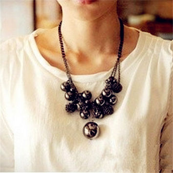 New Women Jewelry Retro Vintage Metal Chain Collar Multilayer Sphere Large Bead Tassel Elements Punk Necklaces&Pendants A320