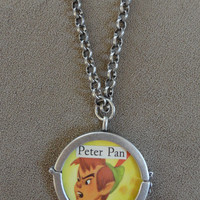 Rare Vintage 1952 Disney Peter Pan & Lost Boys Pendant with Chain (reversible locket)