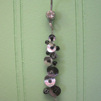 Belly Button Ring - Body Jewelry -Black White And Silver Dangly Belly Ring With Clear Gem Stone Belly Button Ring