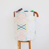 XX Large Geometric Fabric Basket, Laundry Hamper, Nursery Storage Bin, Toy Storage Basket, Fabric Bin, Nursery Laundry Hamper, Pastel