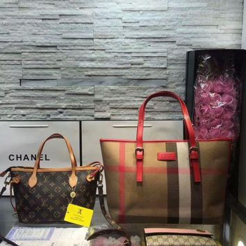 DCC3W Year-End Promotion 3 Pcs Of Bags Combination (Burberry Bag ,LV Bag ,Gucci Wallet)