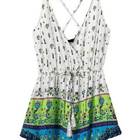 Wrap V-Neckline Drawstring Waist Floral Mini Cami Dress