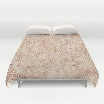 Iced coffee and white zentangles Duvet Cover by Savousepate