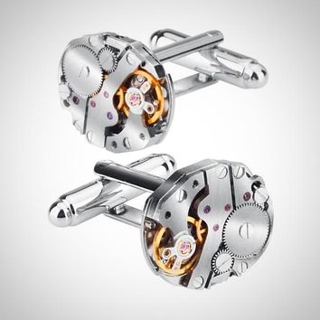 High Quality Silver Mechanical Watch Style Cuff-links