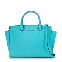 Michael Kors Designer Handbags Selma Aquamarine Saffiano Leather Large Top-Zip Satchel Bag