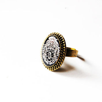 Count Dracula's Crest - Handmade Vintage Cameo Ring