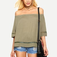 Light Army Green Off The Shoulder Blouse -SheIn(Sheinside)