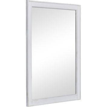 "Lexington 24"" Traditional Wall Mirror, Antique White"