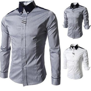 Business Casual Formal Vintage Slim Fit Long Sleeve Ribbon Tencel Shirts for Men