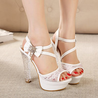 Wendy White Lace Rhinestones Peep toe Sandal High Heel Shoes