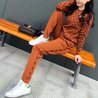 """Louis Vutitton × Supreme"" Women Casual Fashion Knit Logo Letter Long Sleeve Sweater Trousers Set Two-Piece Sportswear"