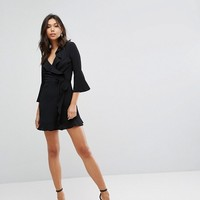 Outrageous Fortune Ruffle Wrap Dress With Fluted Sleeve at asos.com