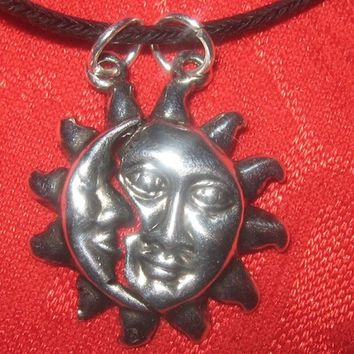 One Of a Kind Steel Detachable Friendship Silver Sun And Moon Pendant Necklace