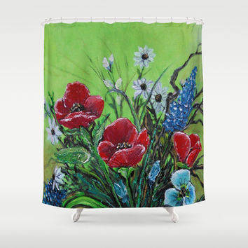 Pretty Poppy Bouquet Still Life Shower Curtain by  #RokinRonda