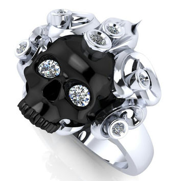 Skull Engagement Ring Silver Black Gold