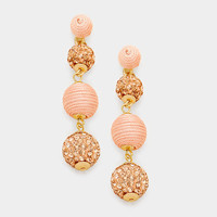 Peach & Gold Double Thread Ball Fire Ball Earrings