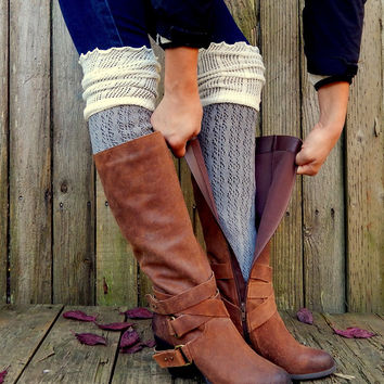 Double Colors Long Lace Boot Socks Mesh Thigh High Leg Warmers Women Knit Boot Cuffs Knee Warmer Boot Toppers Gaiter Boot Covers
