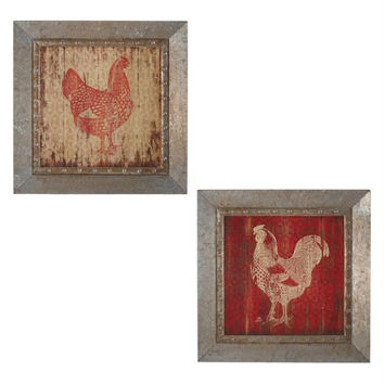 2 Wall Art - Hen And Rooster