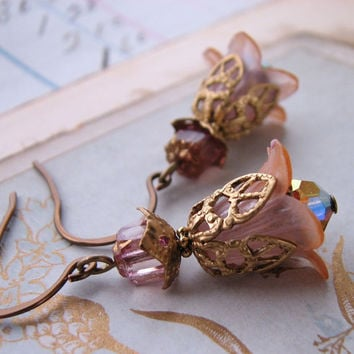 Mauve Peach Shabby Flower earrings crystal by shadowjewels on Etsy