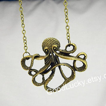 Octopus Necklace,chain Necklace,hipster jewelry,Retro necklace,Large Bronze Octopus Necklace