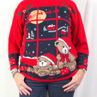 Nutcracker Ugly Christmas Sweater M size Bears Flying Sled