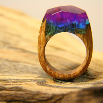 "Large Natural Wood Resin Ring ""Greenland's sky"", Natural Jewelry, Wooden Ring,Eco Ring, Band Ring, Yoga Jewelry, Exclusive Ring, Purple Ring"