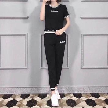 """Chanel"" Women Casual Fashion Knit Multicolor Letter Webbing Short Sleeve Trousers Set Two-Piece Sportswear"