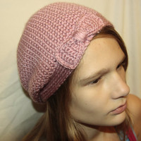 Pink Slouchy Beanie with Bow