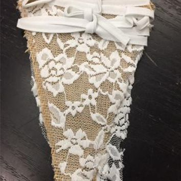 White Lace and Burlap Fabric Garland Flag Bunting Pennant Banner Decoration Photo Prop - PRF104