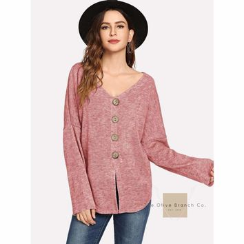 Marled Buttoned Blouse