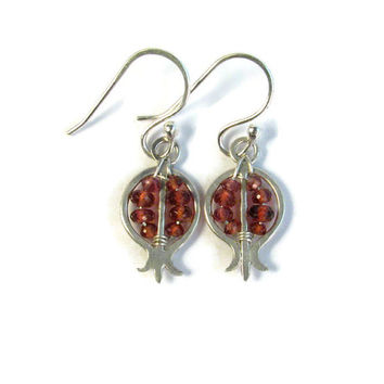 Sterling Silver and Garnet Pomegranate Earrings - Gift Idea - Red Gemstone Earrings - January Birthstone - Cute Fruit Earrings