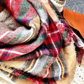 Classic Camel/Red Plaid Woven Wrap Blanket Scarf