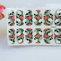 Halloween nail wrap, a set of skulls and roses water decals, skull nails