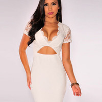 Short Sleeve Lace Embroidered Scalloped Neck Cutout Mini Bodycon Dress