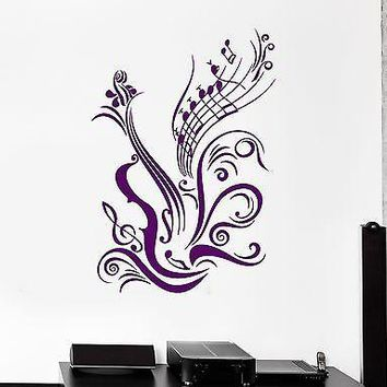 Wall Stickers Vinyl Decal Guitar Sheet Music Coolest Room Decor Unique Gift (ig965)