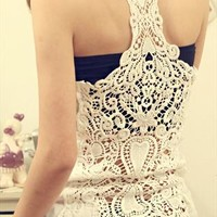 Bottoming Vest Back Lace Crochet from pomelo