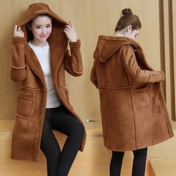 2017Winter Woman Shearling Coats Faux Suede Leather Jackets Plus Size Loose velvet thick cotton Medium Long Faux Lambs Wool Coat