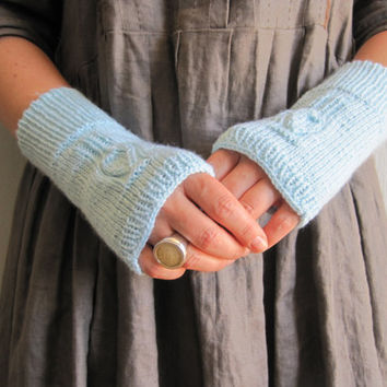 Knit Gloves mittens fingerless hand knitted baby blue colour any season