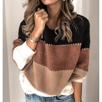 New solid color stitching sweater top Casual hit color round neck sweater female