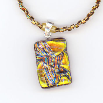 Necklace Gold Yellow Brown with Abstract Dichroic Glass Pendant