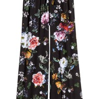Wide trousers - Black/Floral - Ladies | H&M GB