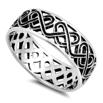 .925 Sterling Silver Celtic Knot Heart Band Ring Ladies and Mens size 5-14